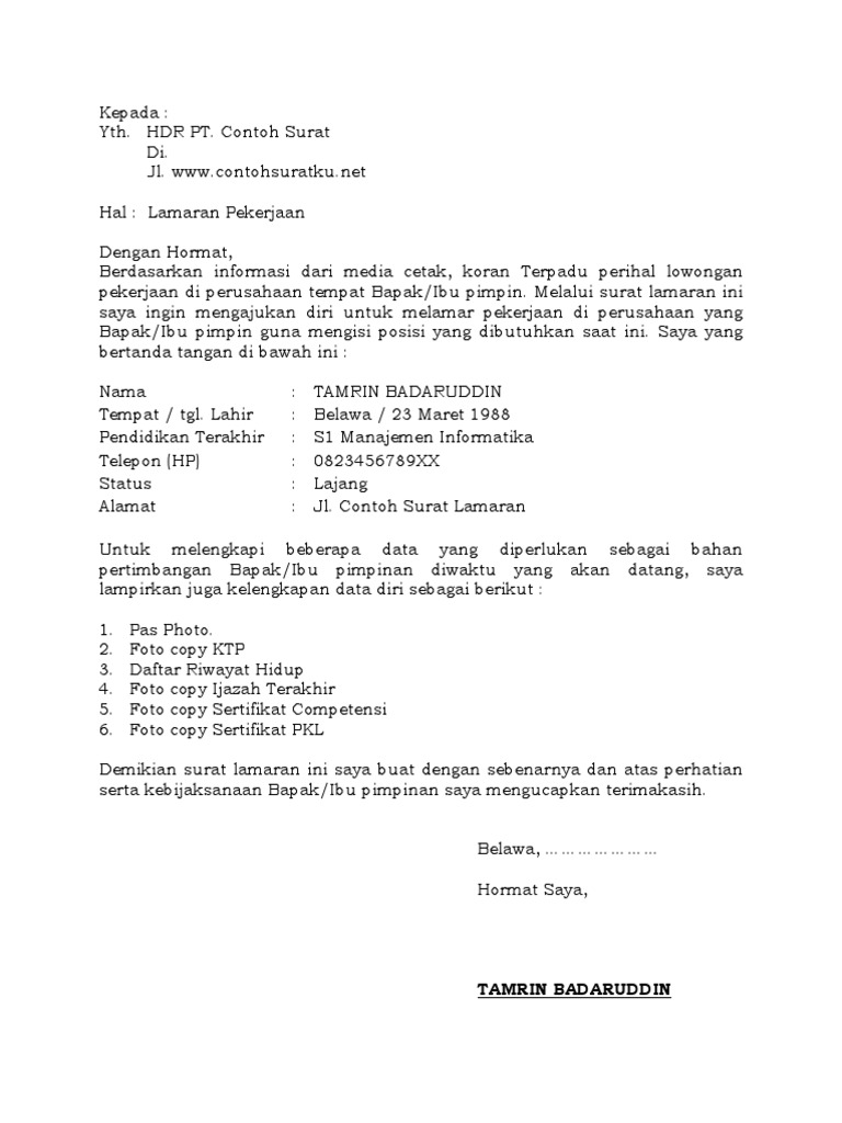 3 Download Contoh Surat Lamaran Kerja Resmi Baik Dan Terbaru Ms Word