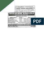 TNOU MPhil & PhD Admission July 2018