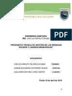 Informe tecnico de  relleno sanitario del municipio de Teotepeque