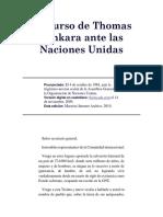 Discurso de Thomas Sankara Ante Las Naciones Unidas