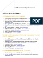 Circuit Theory - Lecture Notes, Study Materials and Important questions answers