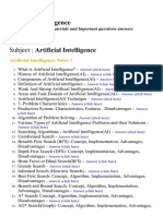 Artificial Intelligence  - Lecture Notes, Study Materials and Important questions answers
