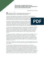 Campos, g - Subjetividad e Administracion de Presonal, Consideraciones Sobre Modos de Gerencial El Trabajo en Equipo en Salud