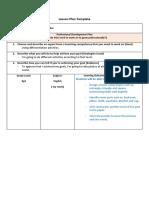 lesson plan template - english - level 6