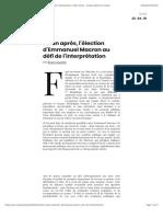 Un an après, l'élection d'Emmanuel Macron au défi de l'interprétation | AOC media - Analyse Opinion Critique.pdf