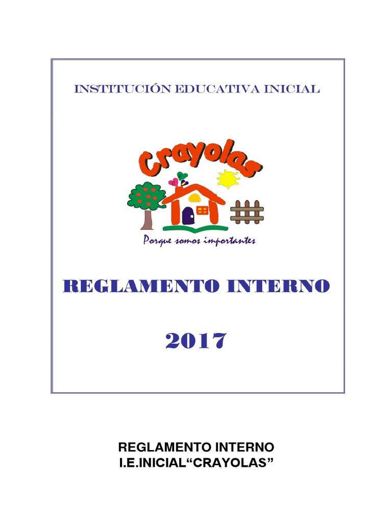 Reglamento Interno Inicial Crayola s