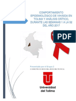 Análisis de Evento Epidemiológico 850 (VIH) en el Tolima