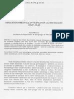 MONTERO, P. Reflexões Sobre Uma Antropologia Das Sociedades Complexas