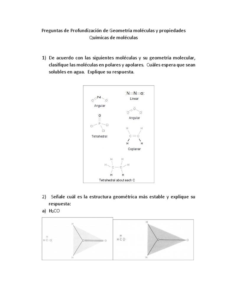 Preguntas De Profundización De Geometría Moléculas Y