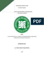 Relación de La Percepción Del Clima Organizacional y La Satisfacción Con La Comunicación Interna Del Personal Administrativo de Un Club de Lima en El Distrito de La Molina