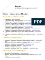 Computer Architecture - Lecture Notes, Study Materials and Important questions answers