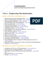 Engineering Thermodynamics - Lecture Notes, Study Materials and Important questions answers