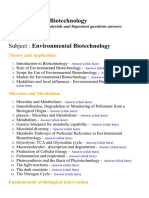Environmental Biotechnology - Lecture Notes, Study Materials and Important questions answers