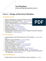 Design of Electrical Machines - Lecture Notes, Study Materials and Important questions answers