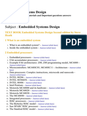 Embedded Systems Design Lecture Notes Study Materials And Important Questions Answers Operating System Software