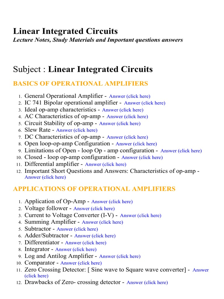 Linear Integrated Circuits Lecture Notes Study