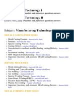 Manufacturing Technology I,II - Lecture Notes, Study Materials and Important questions answers