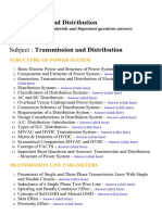 Transmission and Distribution - Lecture Notes, Study Materials and Important questions answers