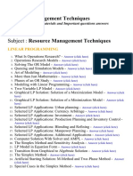Resource Management Techniques - Lecture Notes, Study Materials and Important questions answers