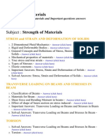 Strength of Materials I - Lecture Notes, Study Materials and Important questions answers