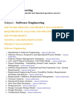 Software Engineering - Lecture Notes, Study Materials and Important questions answers