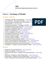 Sociology of Health - Lecture Notes, Study Materials and Important questions answers