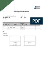 Solicitud de Suministros Materiales Cárcamo Nº 02