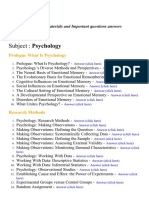 Psychology - Lecture Notes, Study Materials and Important questions answers