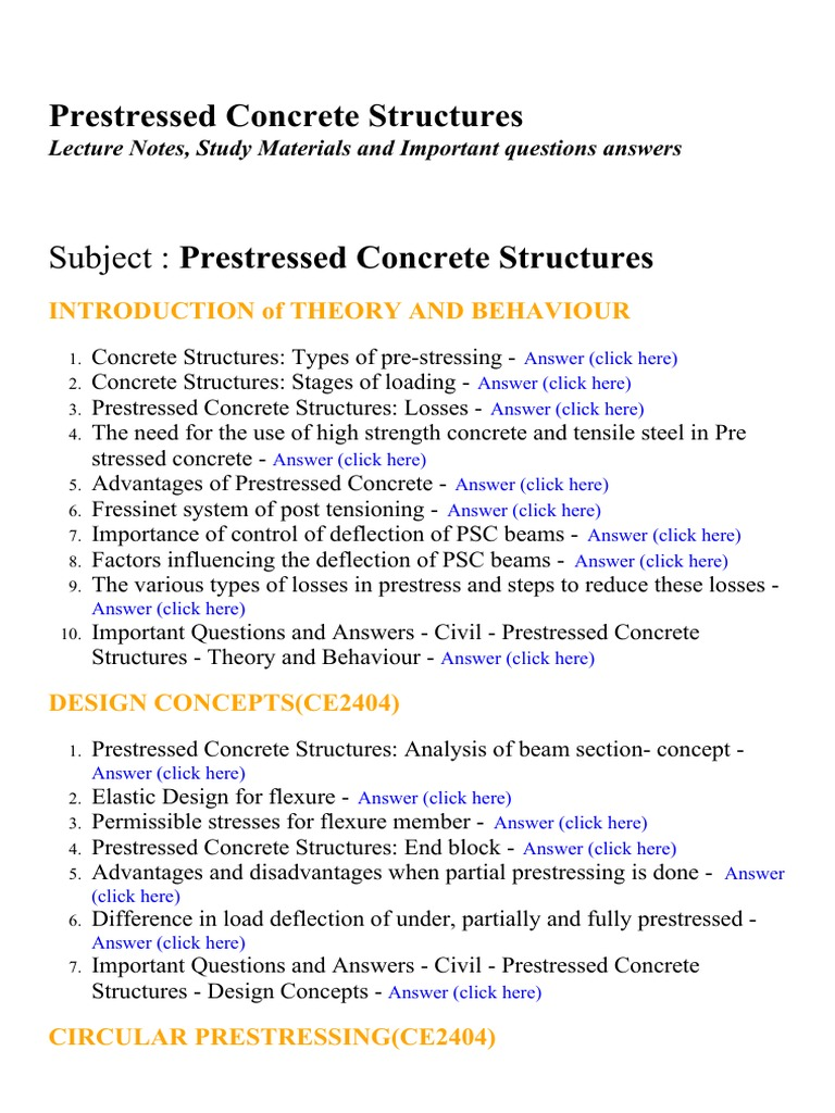Prestressed Concrete Structures - Lecture Notes, Study Materials and  Important questions answers | Prestressed Concrete | Beam (Structure)