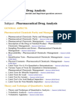 Pharmaceutical Drug Analysis - Lecture Notes, Study Materials and Important questions answers