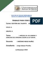 Análisis de Los Deberes y Derechos Del Personal Según La Ley Servir