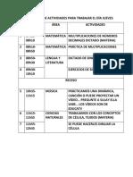 Cronograma de Actividades Para Trabajar El Día Jueves