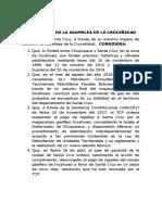 Resolución de la Asamblea de la Cruceñidad en defensa de Incahuasi