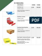 Tabela de Preços Tabacaria