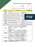Rubrica Evaluacion Tarea Academica 1