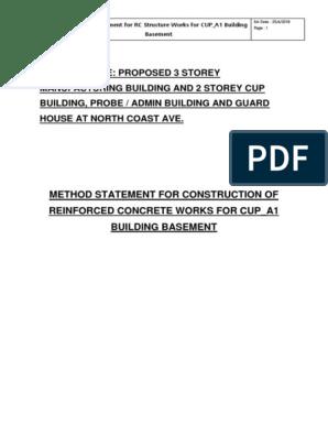 Method Statement CUP_A1 Building Basement | Concrete | Wall
