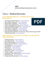 Medical Electronics - Lecture Notes, Study Materials and Important questions answers