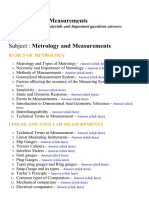 Metrology and Measurements - Lecture Notes, Study Materials and Important questions answers