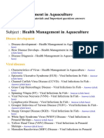 Health Management in Aquaculture - Lecture Notes, Study Materials and Important questions answers