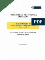 Plan Integrado Vinculación Con La Sociedad 2016-2018