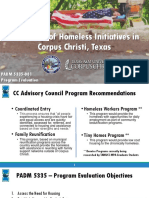 TAMUCC Evaluation of Homeless Initiatives in Corpus Christi Final Presentation 2018