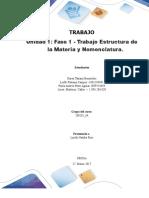 LUISA MARTINEZ Trabajo Colaborativo – Unidad 1 Fase 1 - Trabajo Estructura de La Materia y Nomenclatura_Grupo Xxx