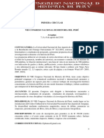 Primera Circular. VIII Congreso Nacional de Historia del Perú.