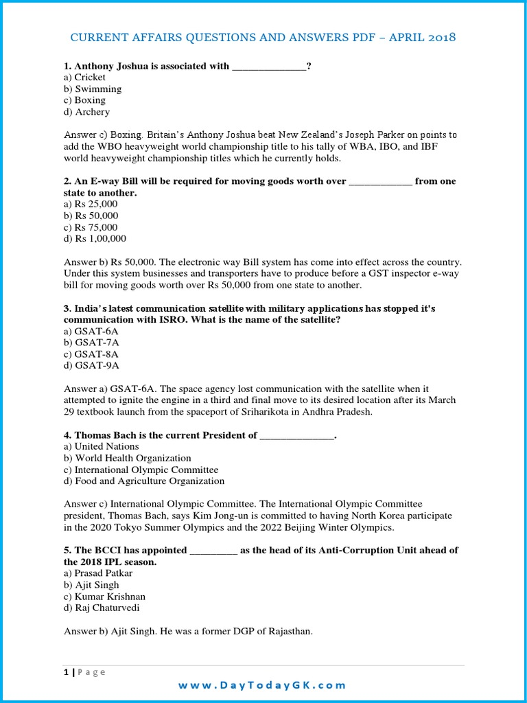 Current Affairs April 2018 Question and Answers PDF   Ban Ki