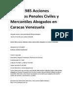 Desde 1985 Acciones Judiciales Penales Civiles y Mercantiles Abogados en Caracas Venezuela