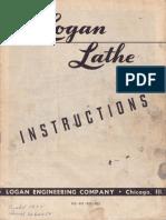 Logan Lathe Model 922 Manual