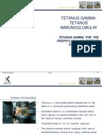 Tetanus Gamma - Immunglobulines Humaines Anti-Tetanique