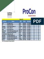 Tabela de Preço Categoria AB
