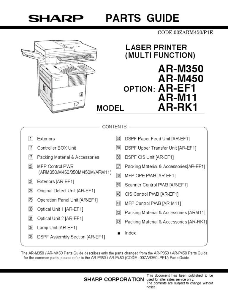 WRG-6760] Sharp Ar M350n Ar M350u Ar M450n Ar M450u Laser