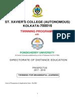 Pondicherry St XvaviersTwinningProgrammeProspectus.